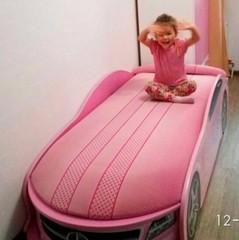 Кровать машина Мерседес розовый+механизм+матрас каркасный
