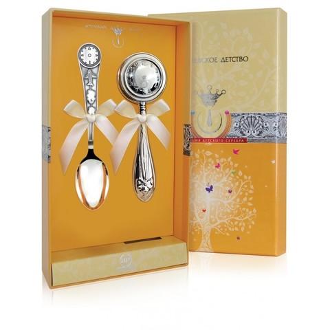 Набор детского серебра «Часы» ложка+погремушка