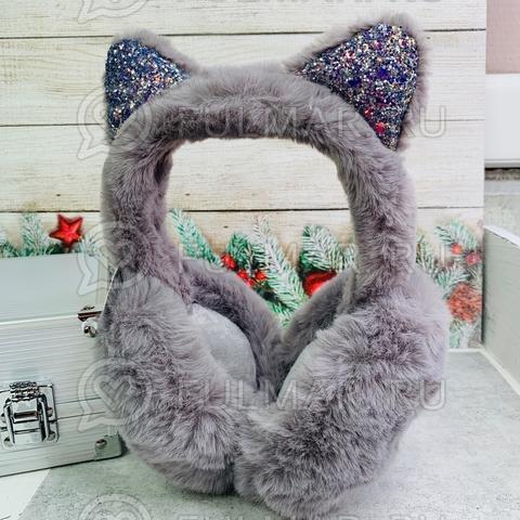 Наушники утеплённые складные для девочки с ушками Кошечки в блёстках цвет: серый