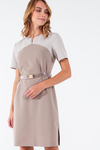 Фото прямое бежевое платье на подкладе с коротким рукавом - Платье З441а-144 (1)