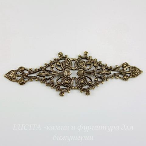 Винтажный декоративный элемент - филигрань 68х21 мм (оксид латуни) ()