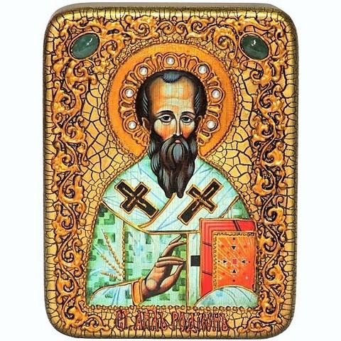 Инкрустированная икона Святой апостол Родион (Иродион), епископ Патрасский 20х15см на натуральном дереве, в подарочной коробке