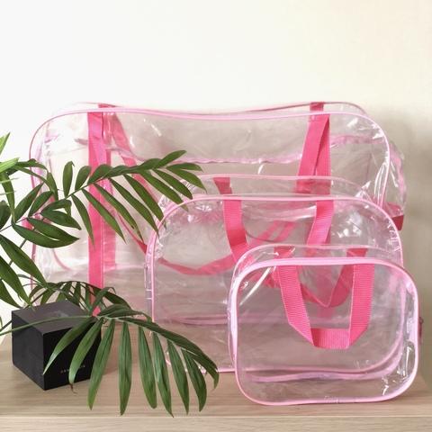 Прозрачная сумка в роддом с 2 косметичками, розовая