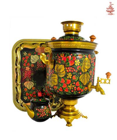 Самовар электрический «Хохломские традиции» формой банка 10 л в наборе с подносом и чайником