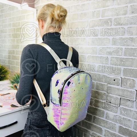 Рюкзак в пайетках с боковыми карманами меняет цвет Перламутровый-Фиолетовый