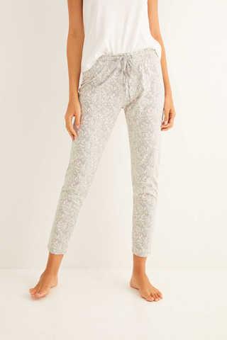 Сірі довгі піжамні штани з принтом