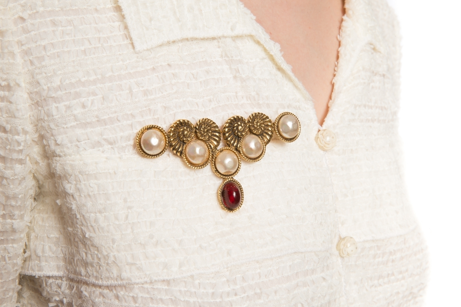 Chanel 1984 Faux Pearl and Gripoix Pin Brooch
