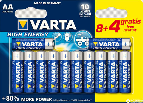 Батарейки Varta High Energy LR6, AA (8+4/120) BL