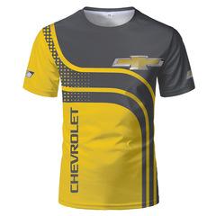 Футболка 3D принт, Chevrolet (3Д Шевроле) желтая/ серая/ черная
