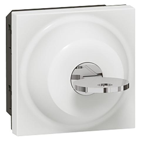 Выключатель с ключом 3-позиционный - 6 A - 2 модуля. Цвет Белый. Legrand Mosaic (Легранд Мозаик). 077073