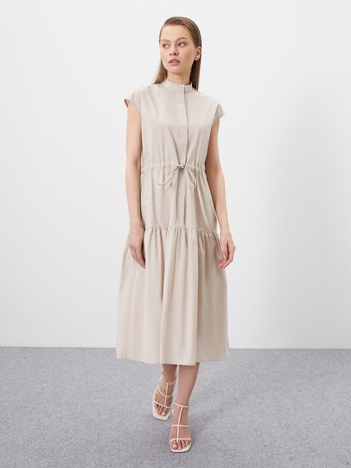 Платье Alison с кулисой и сборкой, Песочный