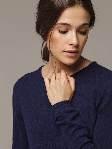 Женский синий джемпер из 100% кашемира - фото 2