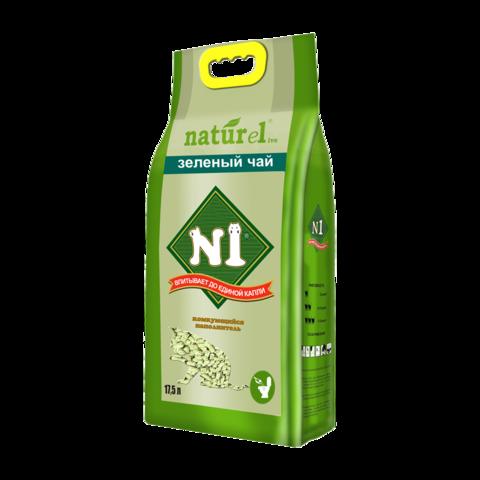 №1 Naturel Зеленый чай Наполнитель для туалета кошек древесный комкующийся