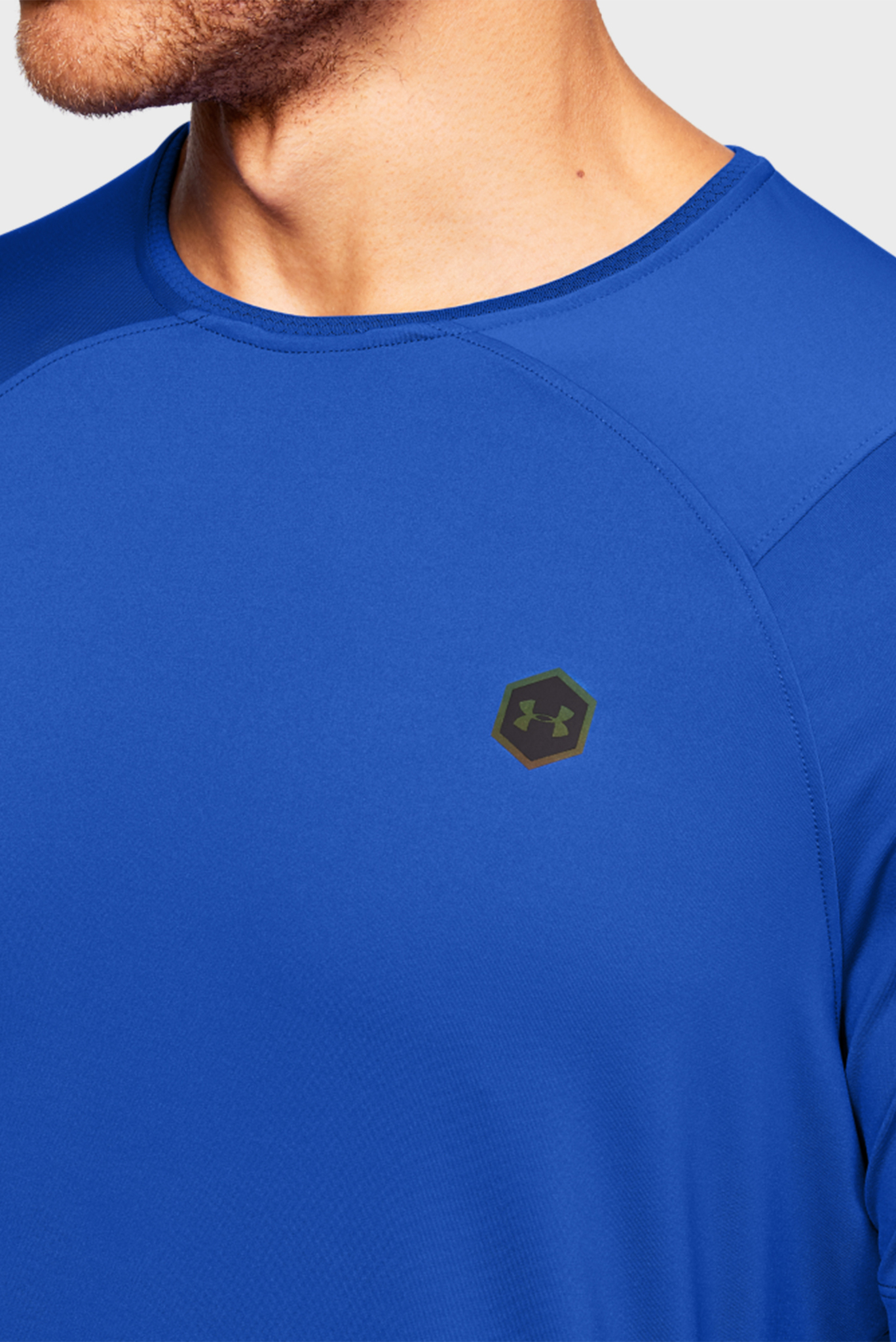 Мужская синяя спортивная футболка UA HG Rush Fitted SS Under Armour