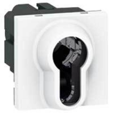 Выключатель с ключом 2-позиционный - цилиндр евростандарта - 6 A - 2 модуля. Цвет Белый. Legrand Mosaic (Легранд Мозаик). 077074