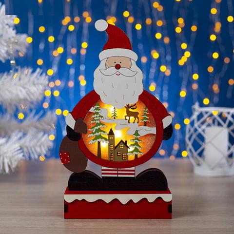 Декор Фигура деревянная Дед мороз с теплой белой подсветкой фиксинг