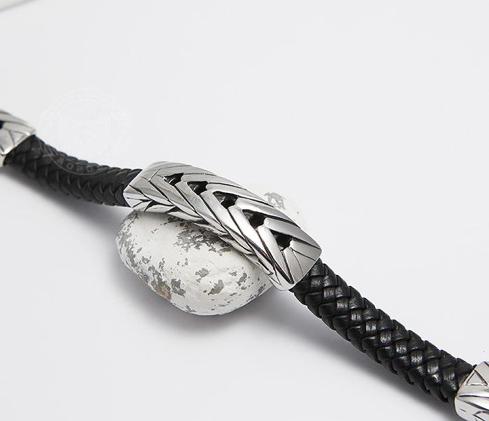 BM480 Крупный мужской браслет из плетеной кожи и стали (21 см) фото 03