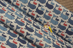 Льняная интерьерная ткань принт КИТЫ