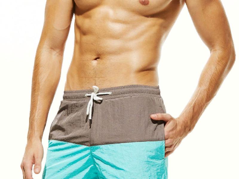 Мужские пляжные шорты серо-бирюзовые SEOBEAN 34784