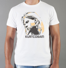 Футболка с принтом Курт Кобейн, Нирвана (Nirvana, Kurt Cobain) белая 001