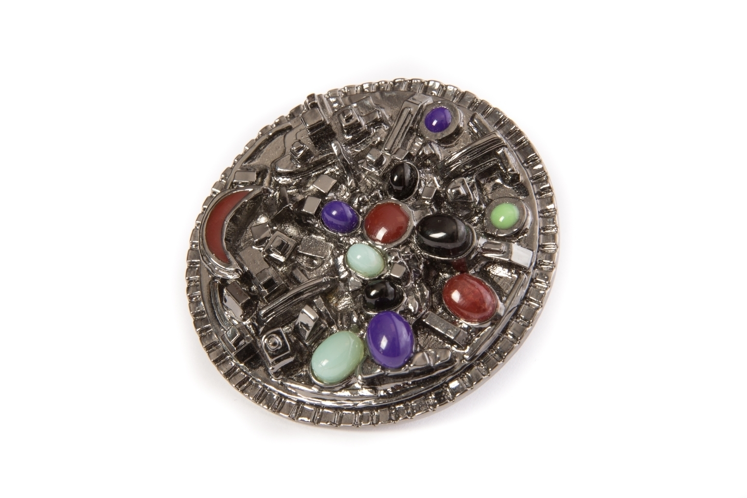 Luxury large ring with Gripoix glass by Chanel