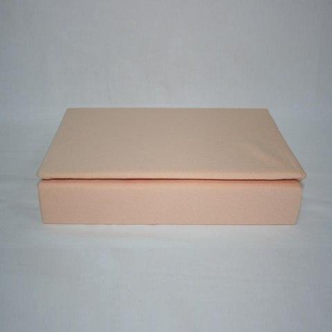 Простынь на резинке трикотажная 180x200 (персиковая)