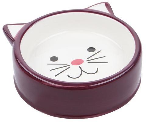 №1 Миска керамическая кошачья мордочка (бордовая)