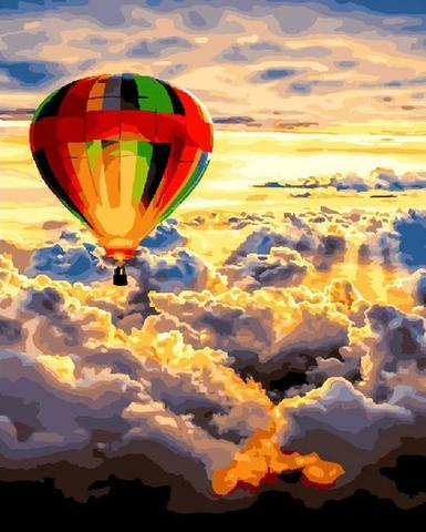 Картина раскраска по номерам 40x50 Воздушный шар в облаках