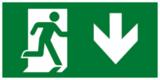 Е39 Выход здесь правосторонний - современный эвакуационный знак