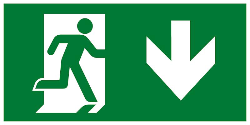 Эвакуационный знак - Выход здесь правосторонний с направляющей стрелкой