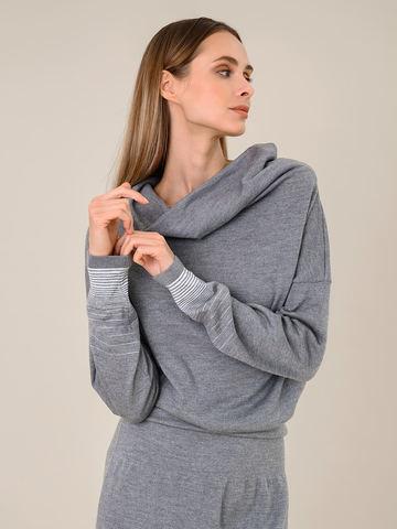 Женское платье светло-серого цвета из шерсти и вискозы - фото 5