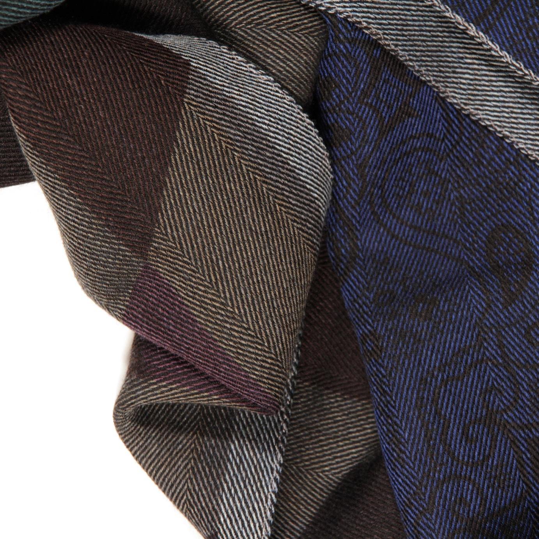Шарф из шерсти и шелка. Цвет синий/бордовый ETRO
