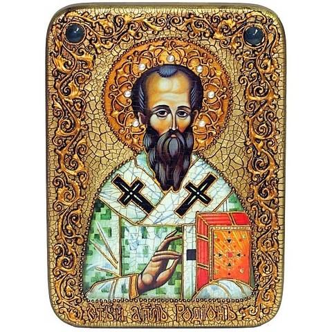 Инкрустированная икона Святой апостол Родион (Иродион), епископ Патрасский 29х21см на натуральном дереве, в подарочной коробке