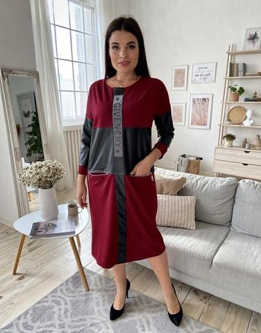 Шайн. Женское комбинированное с эко-кожей платье. Бордо