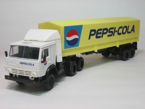 KAMAZ-5410 with semitrailer ODAZ with awning Pepsi yellow Elecon 1:43