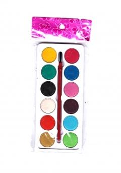 Краски акварельные 12 цветов и кисточка