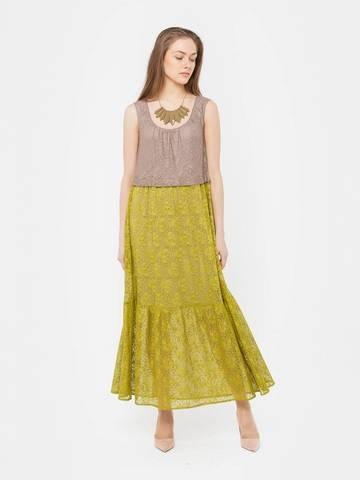 Фото зеленое платье длины макси из кружева без рукавов с круглым вырезом - Платье З280а-440 (1)