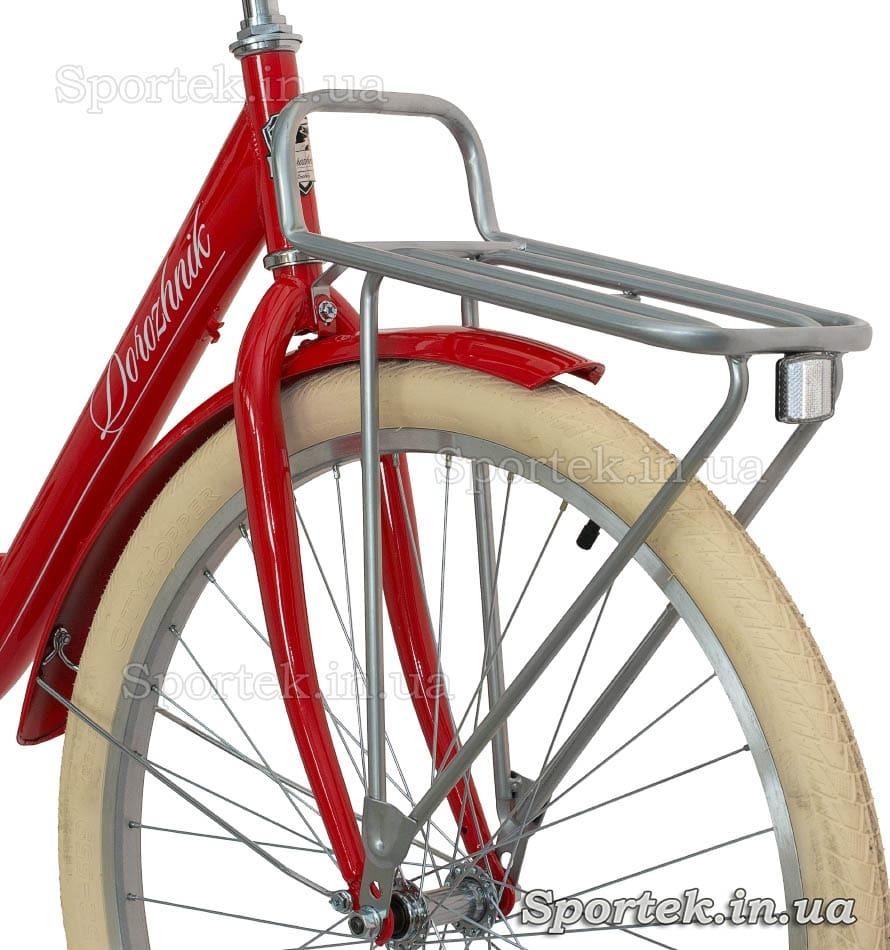 Жестка вилка и передний багажник  городского универсального велосипеда Дорожник Люкс 2016