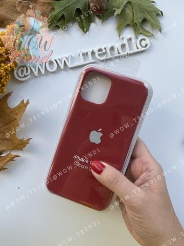 Чехол iPhone 11 Silicone Case /camellia white/ винный 1:1