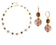 Ожерелье и серьги из муранского стекла белые с золотым