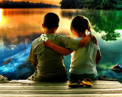 Картина раскраска по номерам 40x50 детская дружба на века