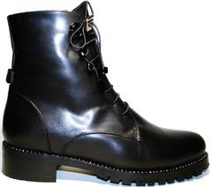 Ботинки женские зима на шнуровке кожаные с мехом на низком каблуке Tucino