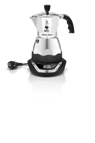 Bialetti Moka Timer, Электрическая гейзерная кофеварка на 3 порции на подставке с дисплеем