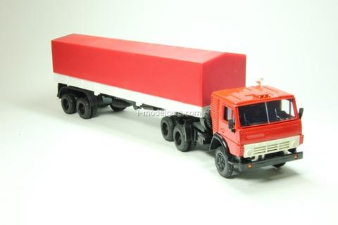 KAMAZ-5410 with semitrailer ODAZ with awning red-white Elecon 1:43