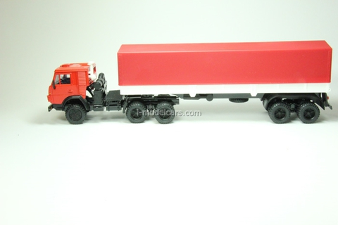 KAMAZ-5410 with semitrailer ODAZ with awning red-white Elecon 1:43