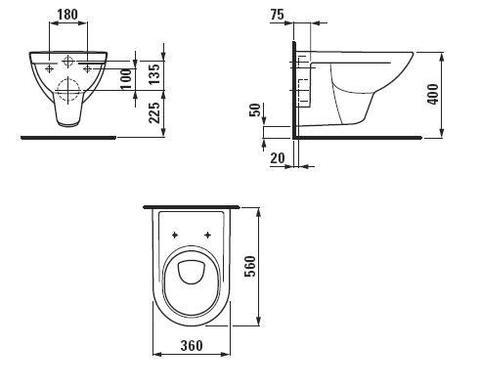 Унитаз подвесной Laufen Pro 8.2095.0.000.000.1 схема