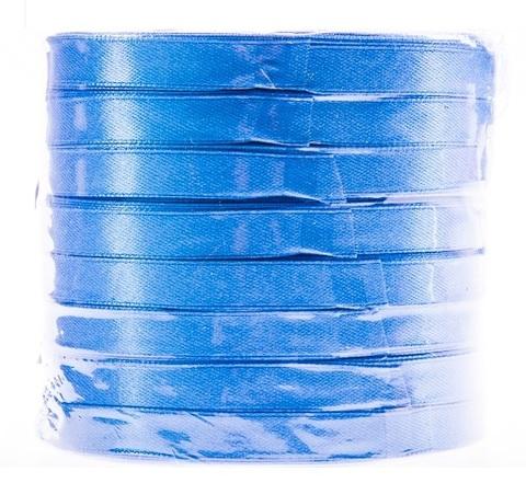Лента атласная (размер: 10 мм х 50 ярд) Цвет: голубой