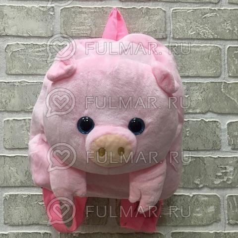 Детский рюкзак плюшевый новогодний 2019 Поросёнок Розовый глаза с блёстками