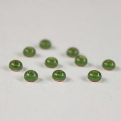 Кабошон круглый Чешское стекло, цвет - оливковый, 3 мм, 10 штук