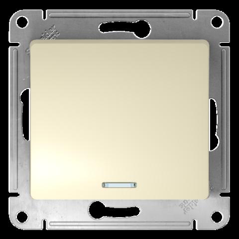 Переключатель одноклавишный с подсветкой, 10АХ. Цвет Бежевый. Schneider Electric Glossa. GSL000263
